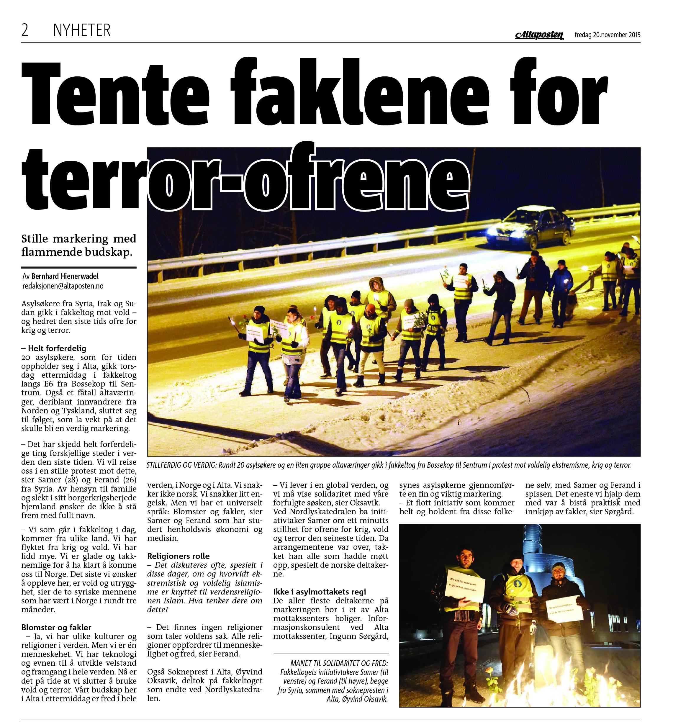 Tente faklene for terror-ofrene